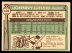 1976 O-Pee-Chee #422  Johnny Grubb  Back Thumbnail