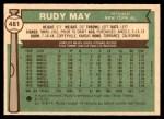1976 O-Pee-Chee #481  Rudy May  Back Thumbnail