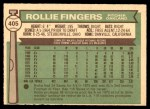 1976 O-Pee-Chee #405  Rollie Fingers  Back Thumbnail