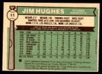 1976 O-Pee-Chee #11  Jim Hughes  Back Thumbnail