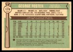 1976 O-Pee-Chee #179  George Foster  Back Thumbnail