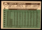 1976 O-Pee-Chee #350   -  Lefty Grove All-Time All-Stars Back Thumbnail