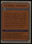 1974 Topps #249   -  Bernie Parent Vezina Trophy Back Thumbnail