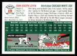 1954 Topps Archives #19  Johnny Lipon  Back Thumbnail
