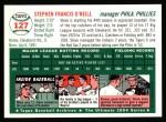 1954 Topps Archives #127  Steve O'Neill  Back Thumbnail