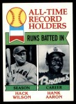 1979 Topps #412   -  Hack Wilson / Hank Aaron All-Time Record Holders - RBI Front Thumbnail