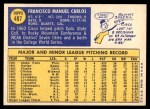 1970 Topps #487  Cisco Carlos  Back Thumbnail