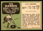 1970 Topps #23  Ron Harris  Back Thumbnail