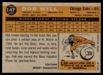 1960 Topps #147   -  Bob Will Rookie Star Back Thumbnail