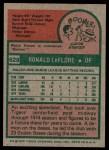 1975 Topps #628  Ron LeFlore  Back Thumbnail