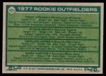 1977 Topps #492   -  Tony Armas / Steve Kemp / Carlos Lopez / Gary Woods Rookie Outfielders   Back Thumbnail