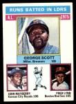 1976 Topps #196   -  George Scott / John Mayberry / Fred Lynn AL RBI Leaders   Front Thumbnail