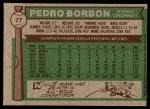 1976 Topps #77  Pedro Borbon  Back Thumbnail