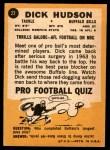 1967 Topps #22  Dick Hudson  Back Thumbnail