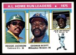 1976 Topps #194   -  Reggie Jackson / George  Scott / John Mayberry AL HR Leaders   Front Thumbnail