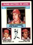 1976 Topps #195   -  Greg Luzinski / Johnny Bench / Tony Perez NL RBI Leaders Front Thumbnail