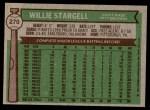 1976 Topps #270  Willie Stargell  Back Thumbnail