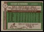 1976 Topps #24  Cesar Geronimo  Back Thumbnail