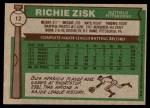 1976 Topps #12  Richie Zisk  Back Thumbnail