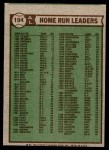 1976 Topps #194   -  Reggie Jackson / George  Scott / John Mayberry AL HR Leaders   Back Thumbnail