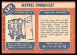 1968 Topps #125  Marcel Pronovost  Back Thumbnail