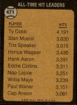 1973 Topps #471   -  Ty Cobb All-Time Hit Leader Back Thumbnail
