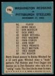 1964 Philadelphia #196   -  Bill McPeak  Redskins Play of the Year Back Thumbnail