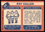 1968 Topps #54  Ray Cullen  Back Thumbnail