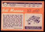 1970 Topps #221  Bill Munson  Back Thumbnail