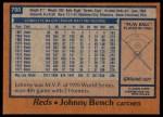 1978 Topps #700  Johnny Bench  Back Thumbnail