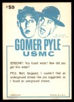 1965 Fleer Gomer Pyle #59   Water?? I Don't Believe It Pyle Back Thumbnail