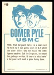 1965 Fleer Gomer Pyle #9   Sergeant Told Me I Was in G-2 Back Thumbnail