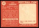 1958 Topps #47  John Carson  Back Thumbnail