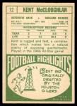 1968 Topps #12  Kent McCloughan  Back Thumbnail