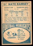 1968 Topps #136  Nate Ramsey  Back Thumbnail