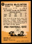 1967 Topps #64  Curtis McClinton  Back Thumbnail