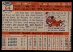 1957 Topps #64  Pete Runnels  Back Thumbnail