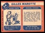 1968 Topps #14  Gilles Marotte  Back Thumbnail