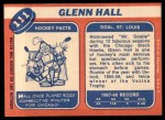 1968 Topps #111  Glenn Hall  Back Thumbnail