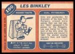 1968 Topps #100  Les Binkley  Back Thumbnail