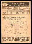 1959 Topps #7  Kyle Rote  Back Thumbnail