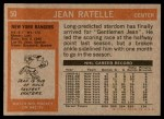 1972 Topps #50  Jean Ratelle  Back Thumbnail