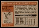 1972 Topps #46  Orland Kurtenbach  Back Thumbnail