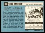1964 Topps #67  Tony Banfield  Back Thumbnail