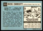 1964 Topps #111  Dick Christy  Back Thumbnail
