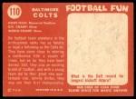 1958 Topps #110   Colts Team Back Thumbnail