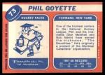 1968 Topps #73  Phil Goyette  Back Thumbnail