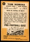 1967 Topps #86  Tom Nomina  Back Thumbnail