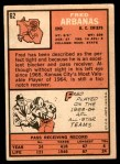 1966 Topps #62  Fred Arbanas  Back Thumbnail