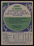 1975 Topps #317  Jimmy O'Brien  Back Thumbnail